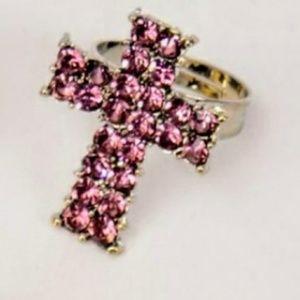 ✝️Light Pink & Silver✝️Rhinestone✝️Cross✝️Ring✝️